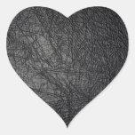 Falsa textura de cuero negra pegatina de corazon personalizadas