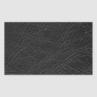 falsa textura de cuero negra pegatina rectangular