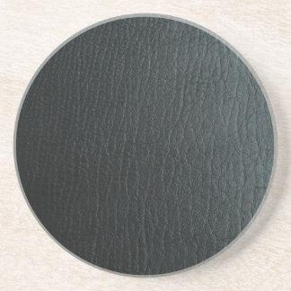 Falsa textura de cuero negra posavasos para bebidas