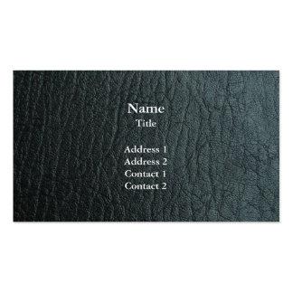 Falsa textura de cuero negra plantillas de tarjetas de visita