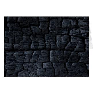 Falsa textura de madera quemada tarjeta de felicitación