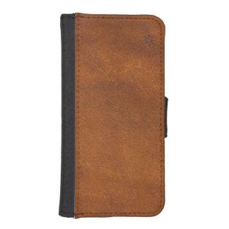 Falsa textura del cuero de Brown Billetera Para iPhone 5