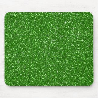 Falsa textura verde del modelo del brillo alfombrillas de ratones