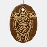 Falsa tortuga hawaiana de madera de Uhane Honu Adorno Navideño Ovalado De Cerámica