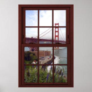 Falsa ventana de madera de la cereza de puente póster
