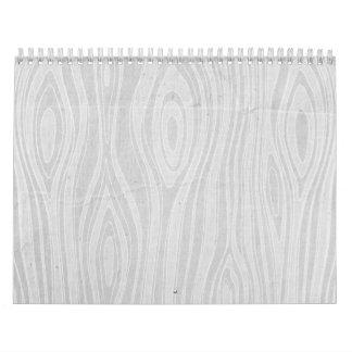 Falsa viruta de madera dibujada mano rústica gris calendario de pared