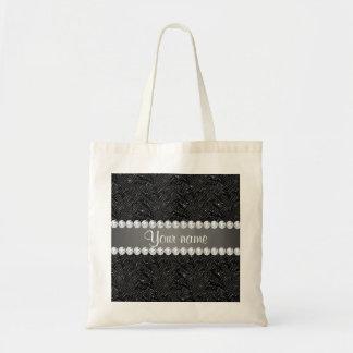 Falsas chispas negras y diamantes de las bolsa tela barata