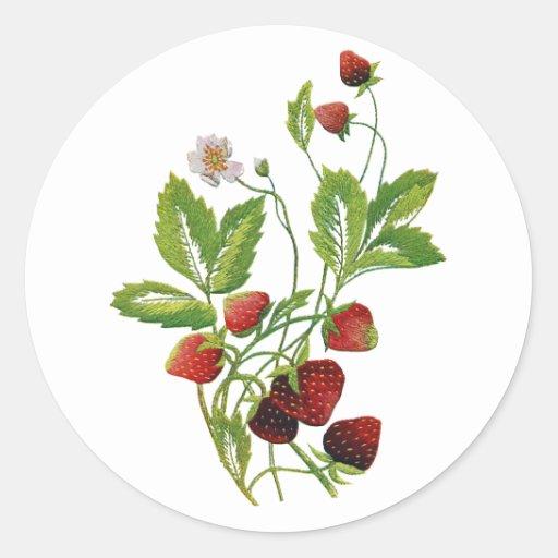 Falsas fresas frescas bordadas pegatina redonda