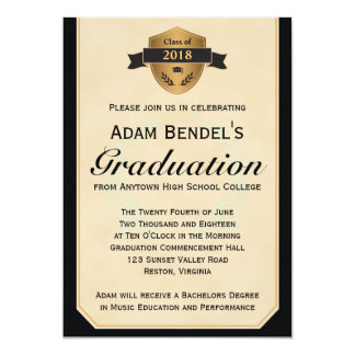 Falsas invitaciones formales de la graduación del invitación 12,7 x 17,8 cm