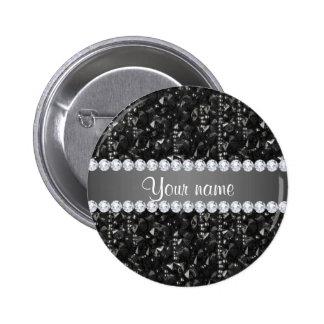 Falsas lentejuelas negras y diamantes pin redondo de 2 pulgadas