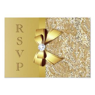 """Falsas lentejuelas y arco RSVP del oro Invitación 3.5"""" X 5"""""""