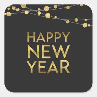Falsas luces de la Feliz Año Nuevo del oro Pegatina Cuadrada
