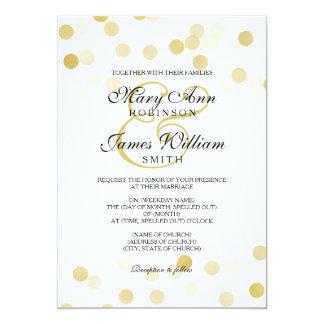 """Falsas luces del brillo de la hoja de oro del boda invitación 5"""" x 7"""""""