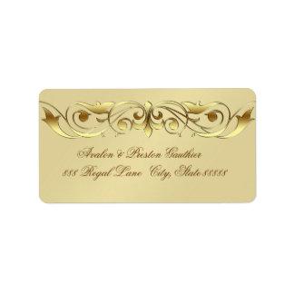 Falsas oro etiquetas de dirección de la voluta de