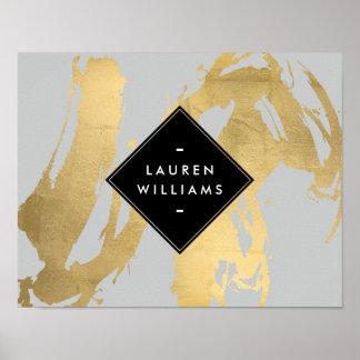 Falsas pinceladas abstractas de la hoja de oro en póster