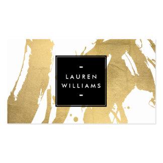 Falsas pinceladas abstractas de la hoja de oro en tarjetas de visita