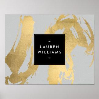 Falsas pinceladas abstractas del oro en gris póster