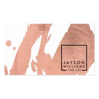 Falsas pinceladas color de rosa del oro del tarjetas de visita