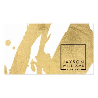 Falsas pinceladas del oro del extracto moderno del tarjetas de visita