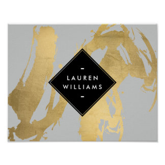 Falsas pinceladas nerviosas del oro en gris póster