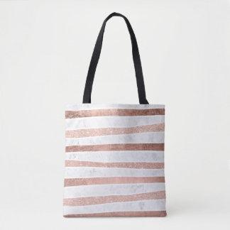 Falsas rayas color de rosa modernas del mármol de bolsa de tela