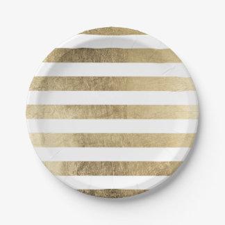 Falsas rayas de moda modernas elegantes de la hoja platos de papel