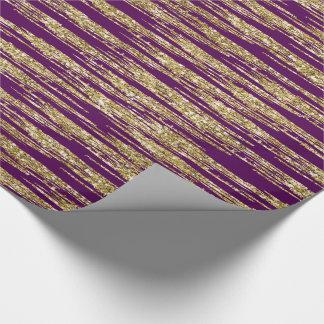Falsas rayas del brillo del oro púrpura papel de regalo