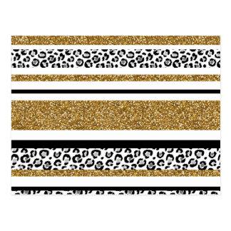 Falsas rayas del leopardo del brillo del oro de postal