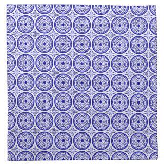 Falsas servilletas blancas azules de la teja de De