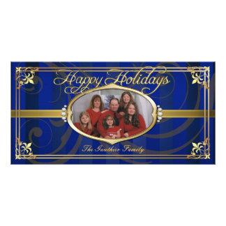 Falsas tarjetas de la foto de la joya del oro azul tarjeta fotográfica
