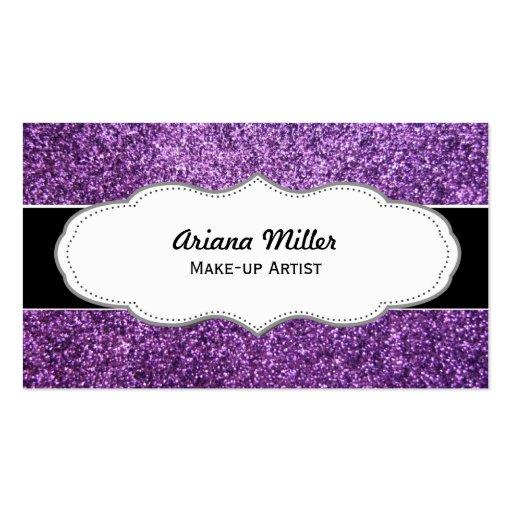 Falsas tarjetas de visita púrpuras del brillo