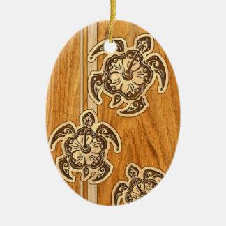 Falsas tortugas hawaianas de madera de Uhane Honu Adorno Navideño Ovalado De Cerámica
