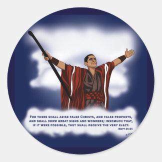 False Christ Obama Round Stickers
