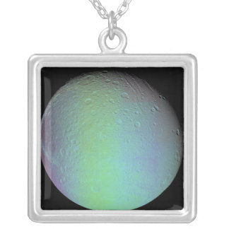 False color view of Saturn's moon Dione Square Pendant Necklace