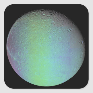 False color view of Saturn's moon Dione Square Sticker