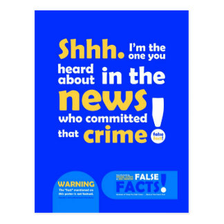 FALSE FACTS Criminal Postcard