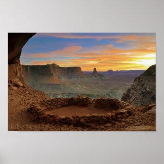 False Kiva sunset Poster
