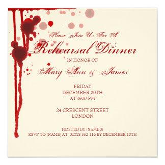 """Falsificación de la cena del ensayo de Halloween Invitación 5.25"""" X 5.25"""""""