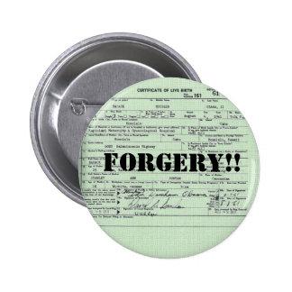 Falsificación de la certificación del nacimiento d pin redondo de 2 pulgadas