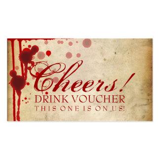 Falsificación del vale de la bebida de Halloween d Tarjetas De Visita