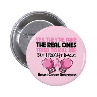 Falsificación me defendí sí conciencia del cáncer pin redondo de 2 pulgadas