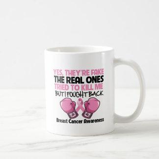 Falsificación me defendí sí conciencia del cáncer  taza básica blanca