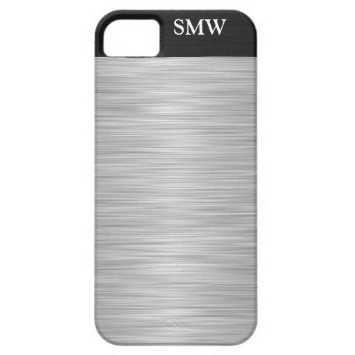 Falso acero inoxidable personalizado y negro iPhone 5 Case-Mate fundas
