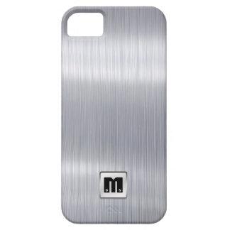 Falso aluminio cepillado con el monograma de funda para iPhone SE/5/5s