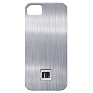 Falso aluminio cepillado con el monograma de iPhone 5 carcasa