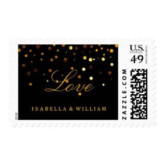 Falso amor de la hoja del oro del confeti negro timbre postal