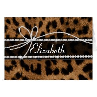 Falso animal negro marrón femenino elegante de mod tarjeta de felicitación