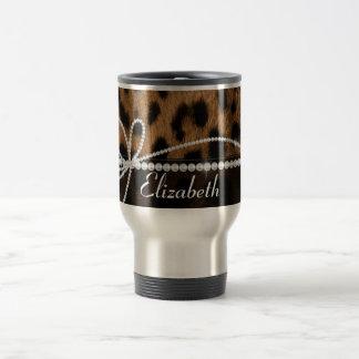 Falso animal negro marrón femenino elegante de taza de viaje