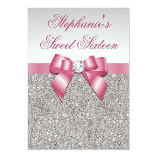 """Falso arco de plata del rosa de las lentejuelas invitación 5"""" x 7"""""""