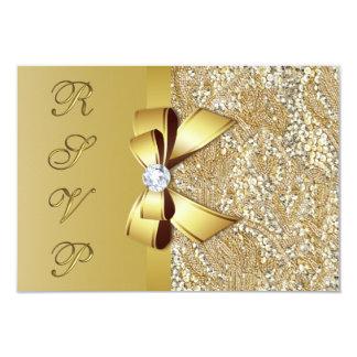 """Falso arco RSVP de las lentejuelas del oro Invitación 3.5"""" X 5"""""""
